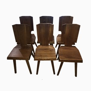 French S28A Elm Side Chairs by Pierre Chapo, 1970s, Set of 6