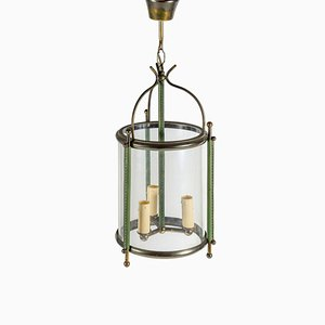Lanterne en Cuir Mid-Century par Jacques Adnet, 1950s