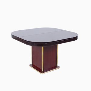Italian Modern Brass and Mahogany Dining Table
