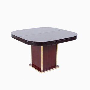 Mesa de comedor italiana moderna de latón y caoba