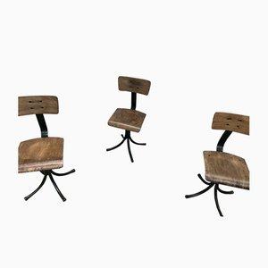 Chaises de Salle à Manger Industrielles en Métal et Contreplaqué, 1950s, Set de 3