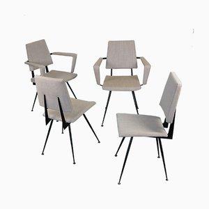 Italienische Esszimmerstühle aus Gusseisen von Velca, 1950er, 4er Set