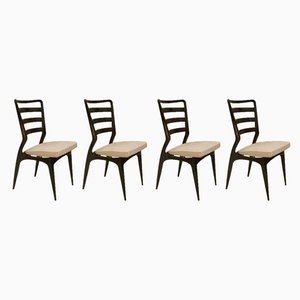 Italian Modern Beech and Brass Dining Chairs, 1950s, Set of 4
