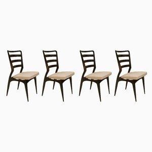 Moderne italienische Esszimmerstühle aus Buche & Messing, 1950er, 4er Set