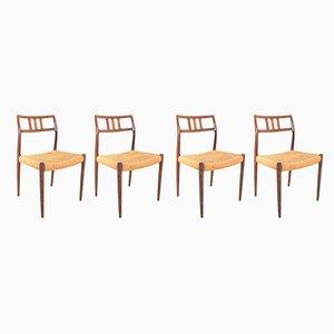 Mid-Century Modell 79 Stühle von Niels O. Møller für J.L. Møllers, 1960er, 4er Set