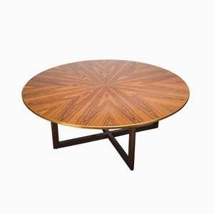 Vintage German Round Rosewood Dining Table, 1960s