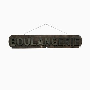 Vintage French Oak and Zinc Bakery Sign, 1930s