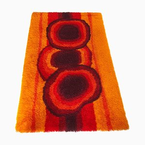 Large Scandinavian Orange High-Pile Rya Rug from Ege Taepper, 1970s