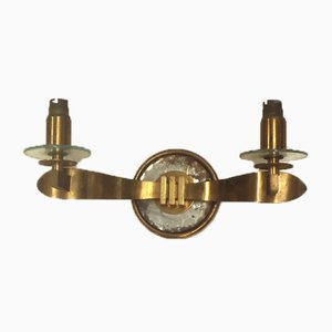 French Art Deco Brass and Mirrored Glass Sconce, 1940s