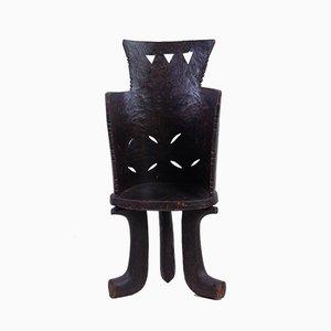 Handgefertigter dreibeiniger äthiopischer Holzstuhl, 1950er
