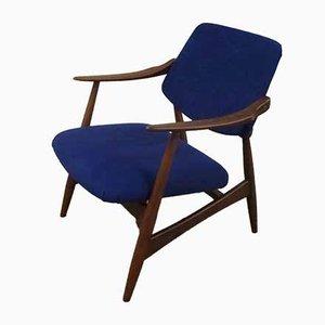 Blauer Polsterstuhl von Louis van Teeffelen für WéBé, 1950er