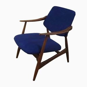 Blue Armchair by Louis van Teeffelen for WéBé, 1950s