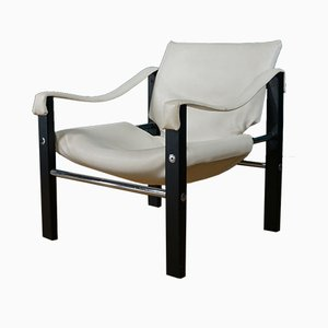Vintage Leather Safari Lounge Chair by Maurice Burke for Arkana, 1960s