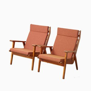 Modernist Birch and Fabric 1611 Lounge Chairs by Rob Parry for Gelderland, 1960s, Set of 2
