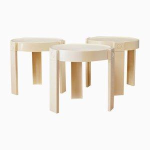 Tavolini ad incastro vintage in plastica di Edizioni Flair, anni '70, set di 3