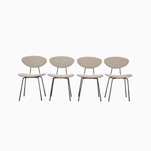 Modernist Fabric and Steel Bar Dining Chairs by Rudolf Wolf for Elsrijk, 1950s, Set of 4