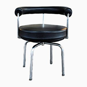 Italian LC7 Black Lounge Chair by Charlotte Perriand, 1980s