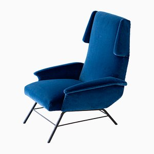 Mid-Century Italian Iron & Velvet Lounge Chair, 1950s