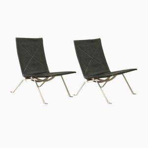 Dänische Sessel mit Stahlgestell von Poul Kjærholm für Fritz Hansen, 1950er, 2er Set
