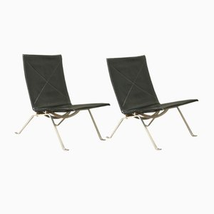 Danish Steel Lounge Chairs by Poul Kjærholm for Fritz Hansen, 1950s, Set of 2