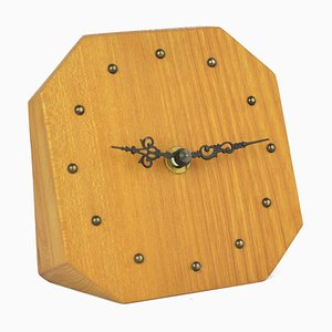 Reloj de repisa minimalista de fresno, años 70