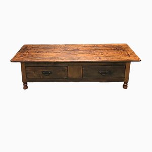 Antique Rustic French Cherry and Chestnut Coffee Table