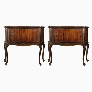 Italian Walnut Bedside Tables, 1960s, Set of 2