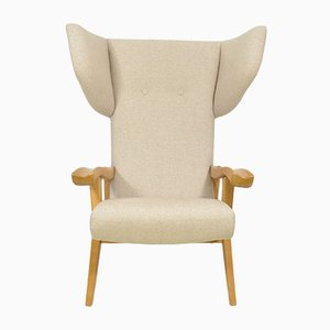 Postmodern Monochrome Beech and Textile Wing Armchair, 1970s