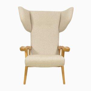 Postmoderner Sessel mit Gestell aus Buche & Stoffbezug, 1970er
