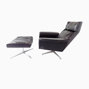 No. 62 Leather Lounge Chair with Ottoman by Jacques Brule for Hans Kaufeld, 1960s
