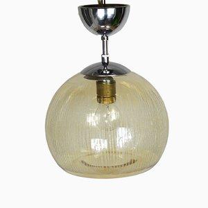 Lámpara de techo danesa Mid-Century cromada, de vidrio escarchado y acero, años 50
