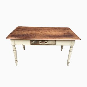 Rustic French Beech and Fir Farmhouse Table, 1920s