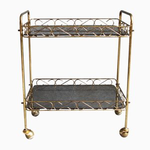 Vintage Danish Brass and Colored Glass Trolley, 1930s
