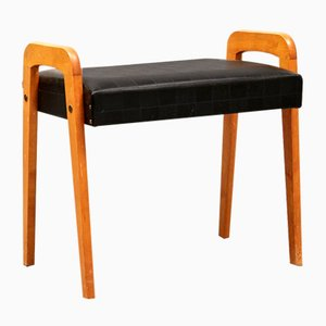 Swedish Leather and Teak Stool, 1950s