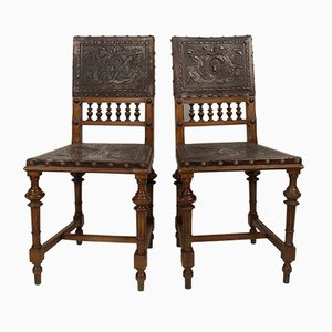 Antique Wood and Goat Skin Dining Chairs, Set of 2