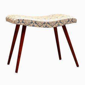 Swedish Fabric and Teak Stool, 1950s
