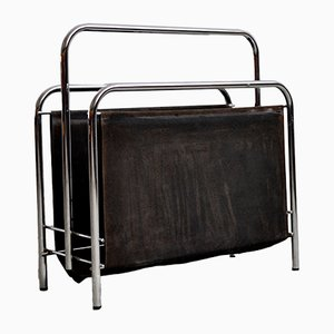 Industrial German Chrome Plating and Fabric Magazine Rack, 1970s