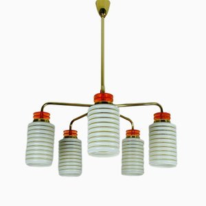 German Bakelite, Brass & Pressed Glass Chandelier, 1950s