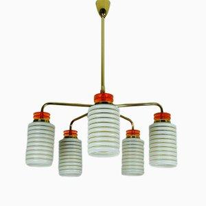 Lámpara de araña alemana de baquelita, latón y vidrio prensado, años 50