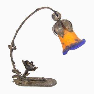 Lámpara de mesa francesa Art Nouveau de hierro fundido y vidrio, años 20