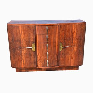 Vintage Art Deco French 6264 Burl and Walnut Sideboard, 1930s