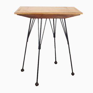 Mid-Century Metal and Wood Side Table, 1950s