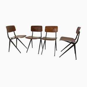 Industrielle Stühle aus Metall & Schichtholz von Marko, 1950er, 4er Set