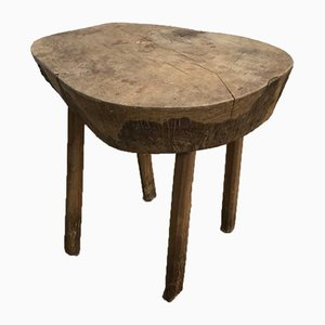 Antique French Oak Primitive Stool, 1890s
