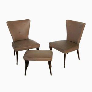Juego de silla y otomana italiana de haya y cuero sintético, años 50
