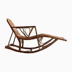 Chaise longue Mid-Century artigianale in vimini, anni '50