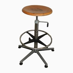 Vintage Italian Aluminum, Beech, and Steel Stool, 1970s