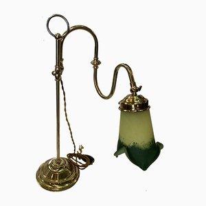 Lámpara de mesa vintage de latón y cristal de Murano, años 20