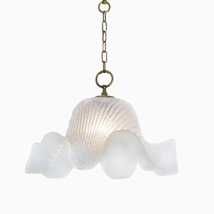 Lámpara de techo italiana vintage de cristal de Murano, años 70