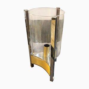 Lámpara de mesa italiana de vidrio y latón de Gaetano Sciolari, años 60